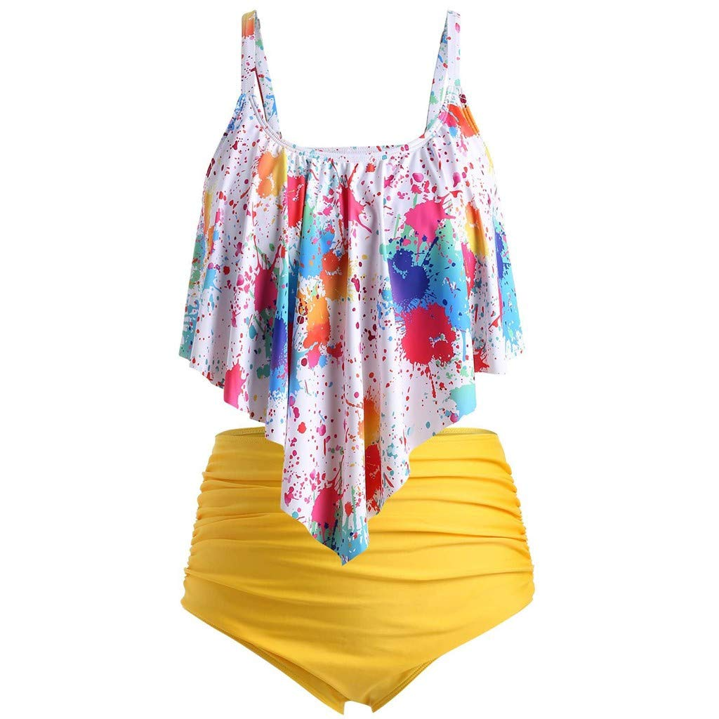 Plus Size Bikini Set Bathing Suits for Women Sexy Push-Up Padded Ruffled Flounce High Waist Swimsuits Beachwear Daorokanduhp by Daorokanduhp Women Swimwear