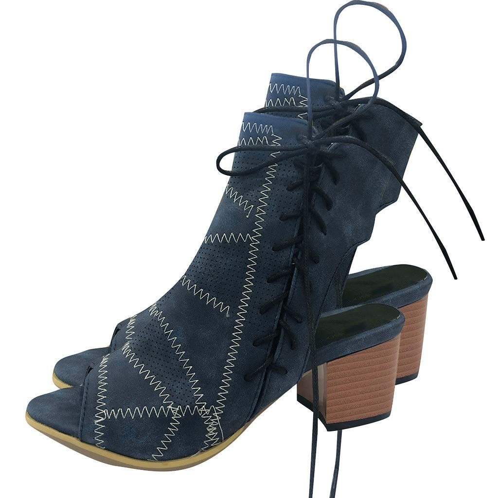 Summer Hollow Out High Heels Sandals,Women's Side Zip Lace Up Ankle Boot Chunky Block Party Dress Booties Shoes 2.55'' (Dark Blue, US:6)