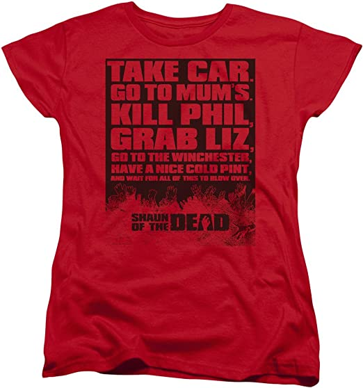 Shaun of the Dead Movie TO-DO LIST Take Car Adult Heather T-Shirt All Sizes