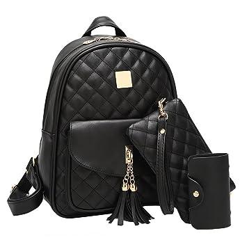7123b6a7a49e9 Vbiger Rucksack Damen PU Leder Elegant Daypack Schultertasche 3 in 1  Kleiner Rucksack Set Schwarz