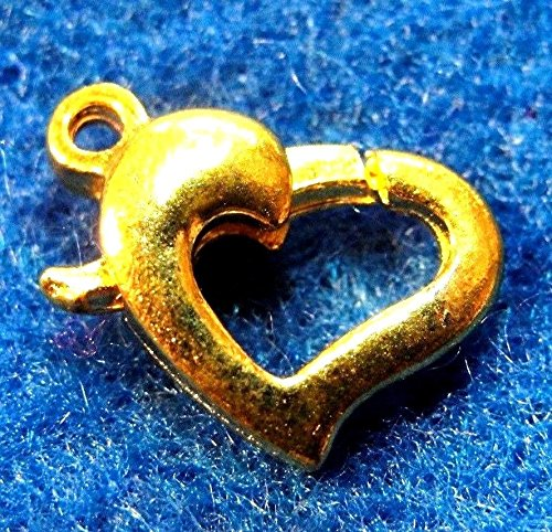 10Pcs. Gold-Plated Nice 10mm Heart Lobster Clasps - Tibetan Findings CL04 Crafting Key Chain Bracelet Necklace Jewelry Accessories Pendants