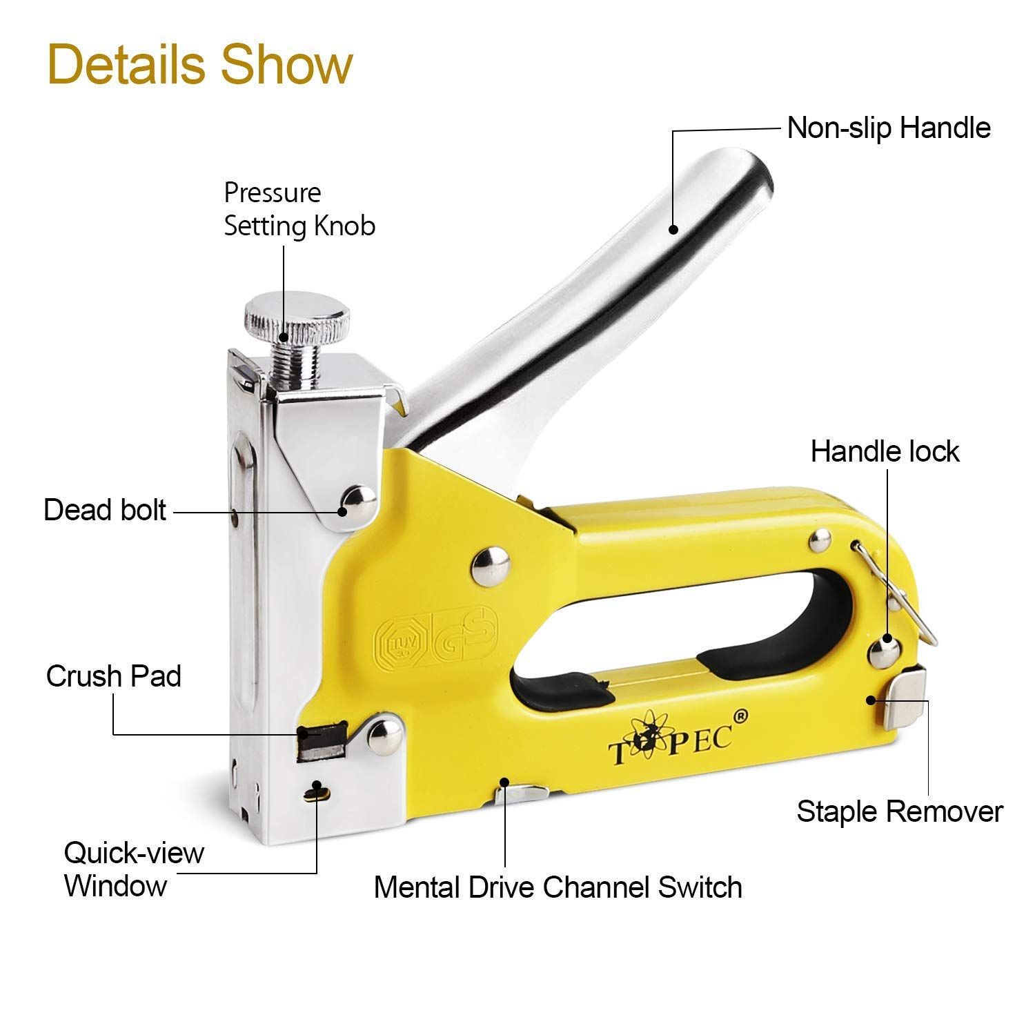 Staple Gun 3 In 1 Manual Nail Gun With 1800 Staples Heavy Duty