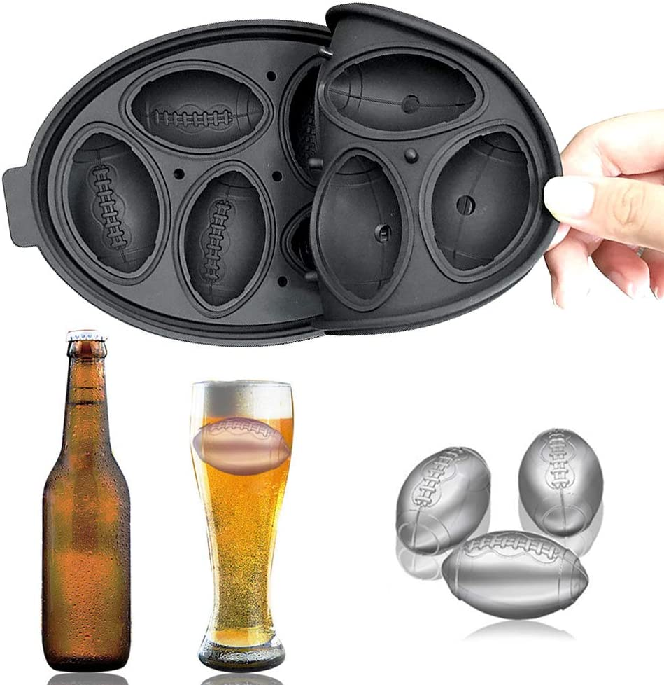 Ice Cube Trays, Football ice Cube Mold Reusable Silicone Flexible Ice Maker Makes Six Ice Ball Molds, Perfect for Whiskey, Cocktail