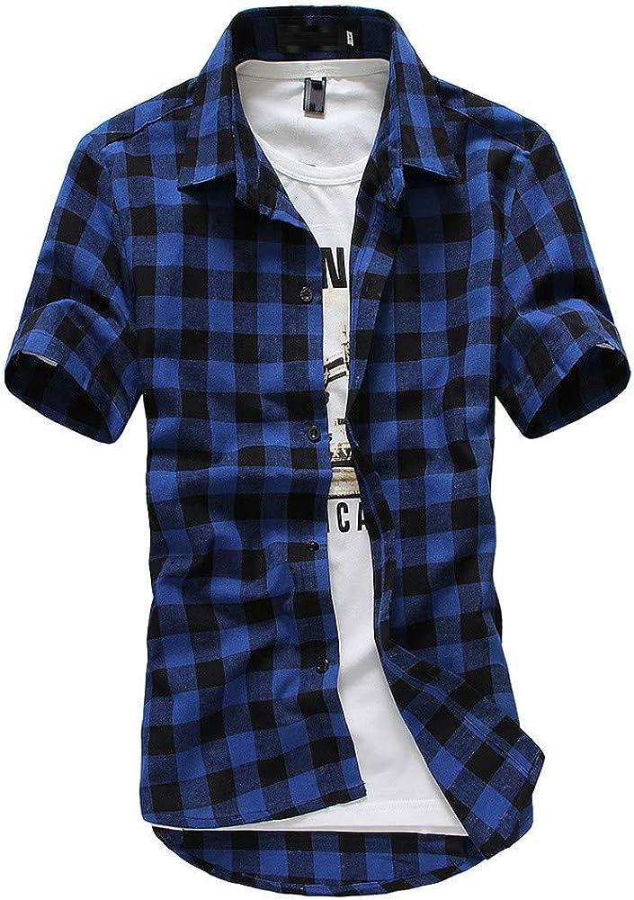 riou Camisa de Manga Corta para Hombre Cuello En V Camisetas Botón En Slim para Camisas Ocio Solapa Casual a Cuadros de Primavera y otoño para Hombres Blusa Tops T-Shirt: Amazon.es: Ropa