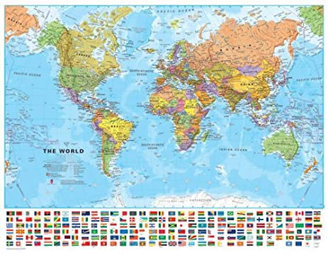 Amazon medium world wall map political with flags medium world wall map political with flags laminated gumiabroncs Image collections
