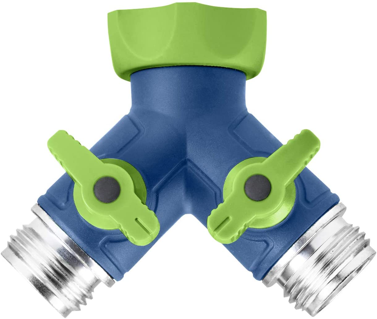 GREEN MOUNT Garden Hose Connector Tap Splitter, Y Hose Connector, Easy Grip Splitter with Shut-Off Valves (Two Way)