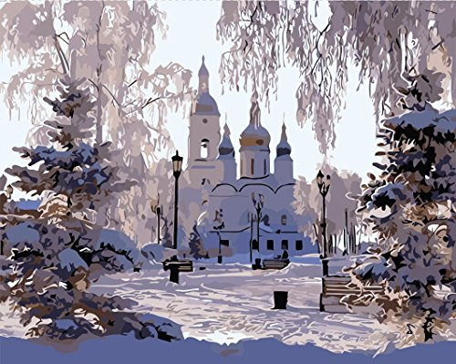 Diy Oil Painting, Paint by Number kit, Paint by Numbers Winter Snow Castle 16x20 inch Frameless By Friday's Chance
