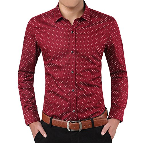 localmode Men's Casual Slim Fit Long Sleeve Button Down Dress Shirt Wine Red S