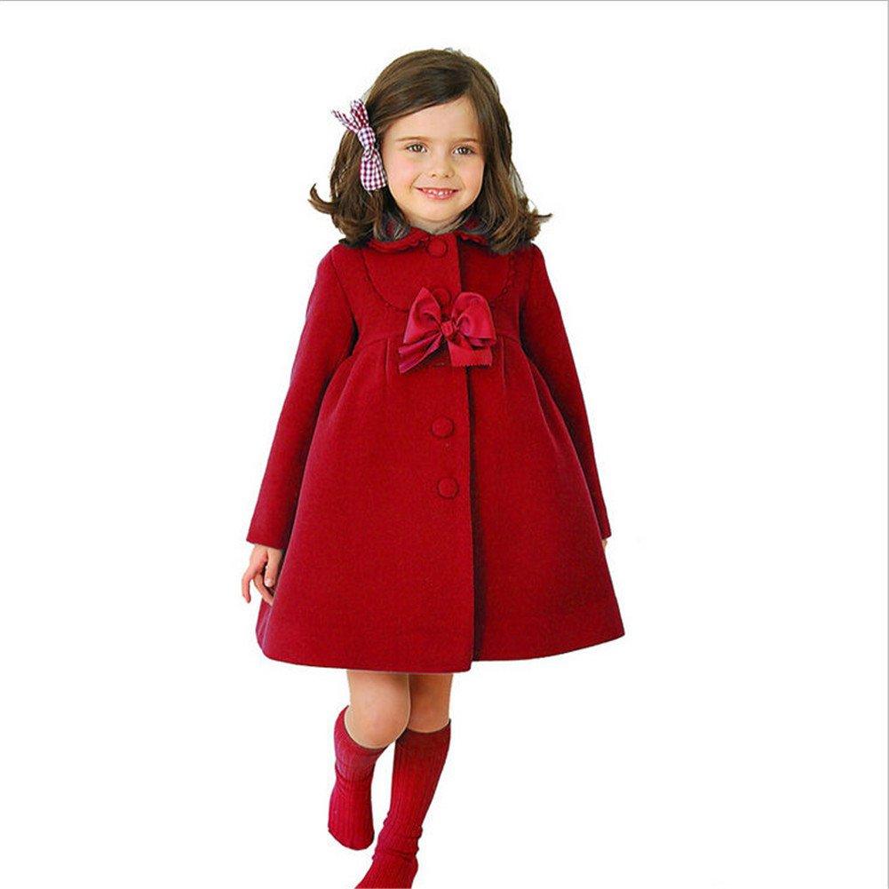 ZYZF Fashion Toddler Baby Girls Winter Warm Wool Coat jacket Snowsuit Outwear (3-4 Years, Red)