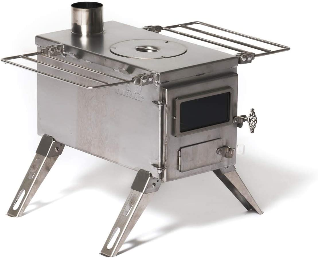 Winnerwell Nomad Medium Tent Stove Tiny Portable Wood Burning Stove for Tents, Shelters, and Camping 800 Cubic Inch Firebox Precision Stainless Steel Construction Includes Chimney Pipe
