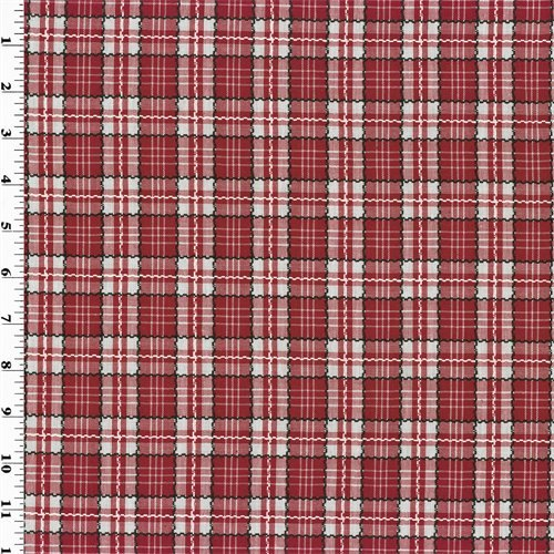 Red Woven Cotton Plaid Home Decorating Fabric, Fabric By the ()