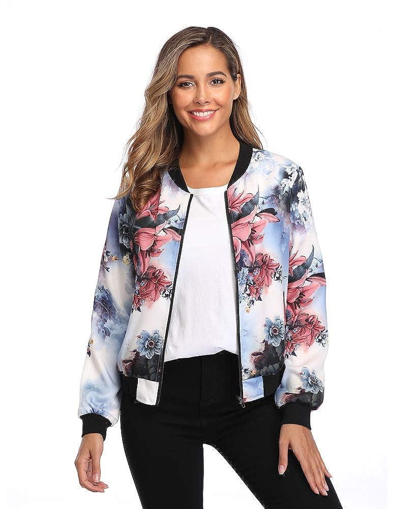 MISS MOLY Womens Bomber Jackets Lightweight Casual Zipper Long Sleeve Fall Outwear Jacket with Pockets