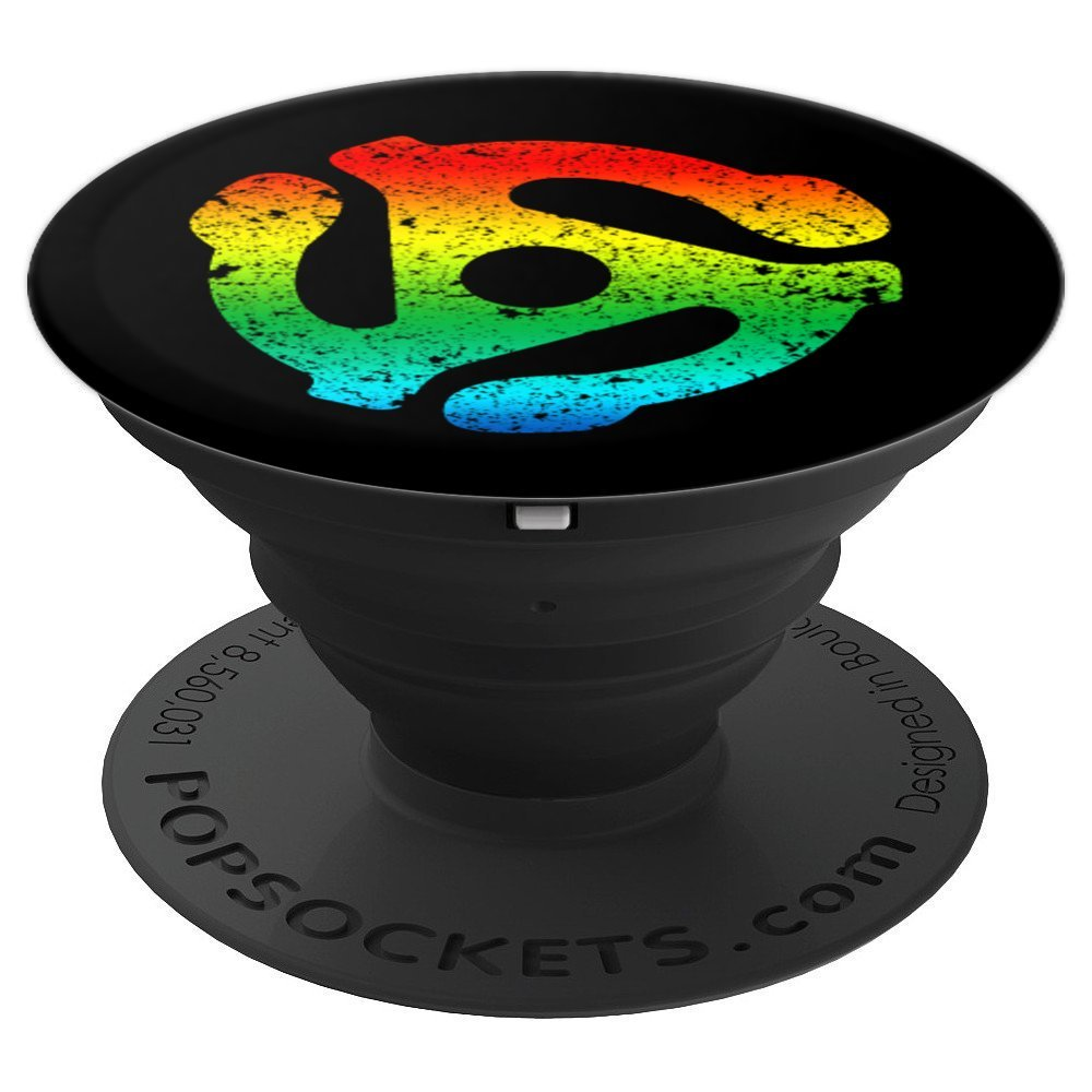 DJ 45 RPM Adapter Turntable Record Rainbow Gay Pride Black - PopSockets Grip and Stand for Phones and Tablets