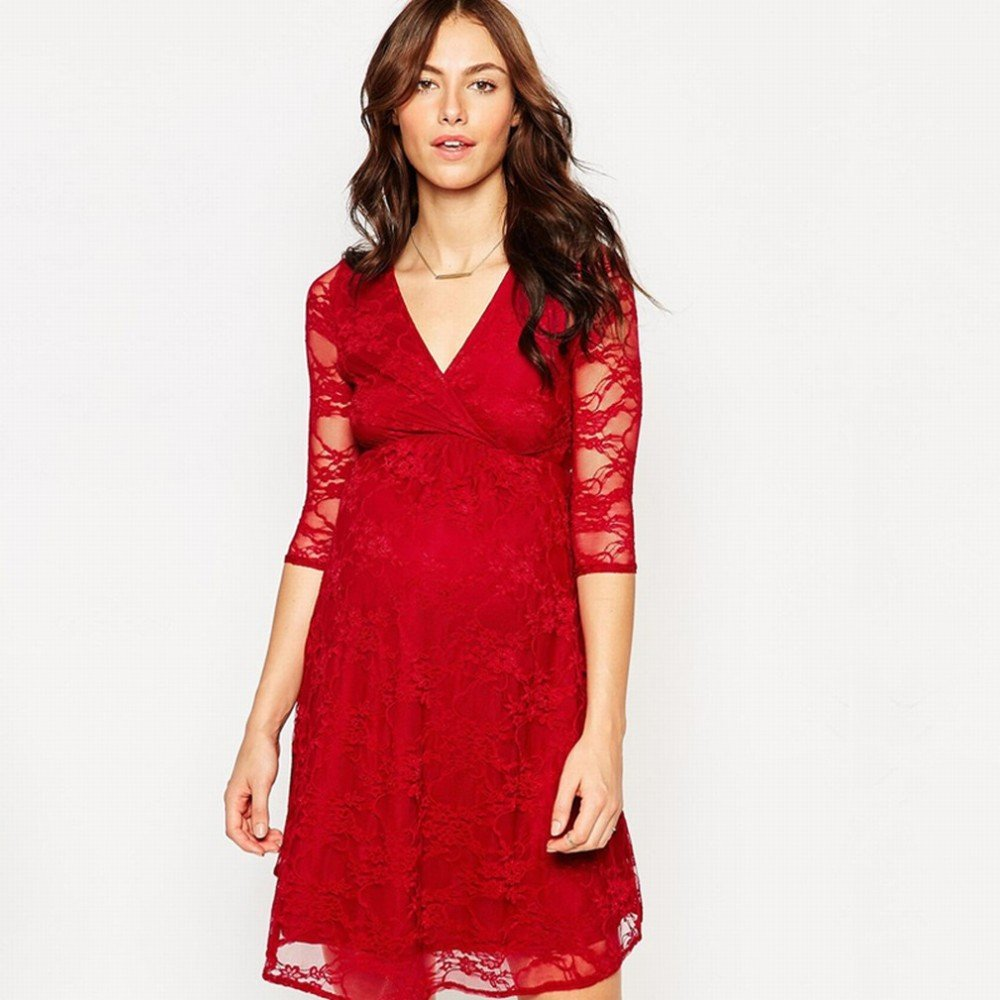 ZH mujeres embarazadas primavera vestido de primavera y el verano las mujeres embarazadas occidentales falda larga falda de encaje que basa la camisa: ...