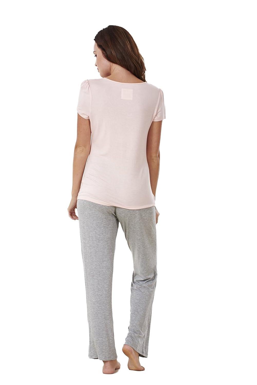 Conjunto de pijama para mujer - Manga corta - Con bolsillos - Gris / rosa - EU 42: Amazon.es: Ropa y accesorios