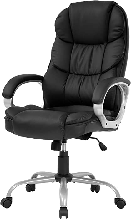 Office Chair Computer High Back Adjustable Ergonomic Desk Chair Executive PU Leather Swivel Task Chair with Armrests Lumbar Support (Black)