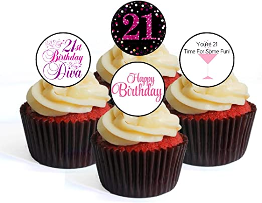 Colourful Bright Happy Birthday Party 12 Cup Cake Toppers Edible Decorations