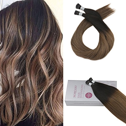 Moresoo 22 Inch I Tip Extensions Human Hair Color Off Black #1B Fading to #10 Pre Tipped Hair Stick Tip Remy Hair Extensions Itip Hair Real Hair 1g/1s 50g