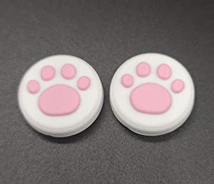 2 x Silicone Analog Controller Thumb Stick Joystick Grips Cap for Nintendo Switch NS & Switch Lite Controller Joy-Con ThumbStick Cute Cat Paw Claw (White-Pink)