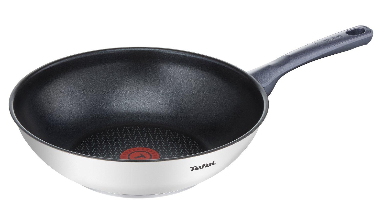 Tefal Daily Cook - Wok de 28 cm, antiadherente de acero inoxidable, para todo tipo de cocinas incluido inducción