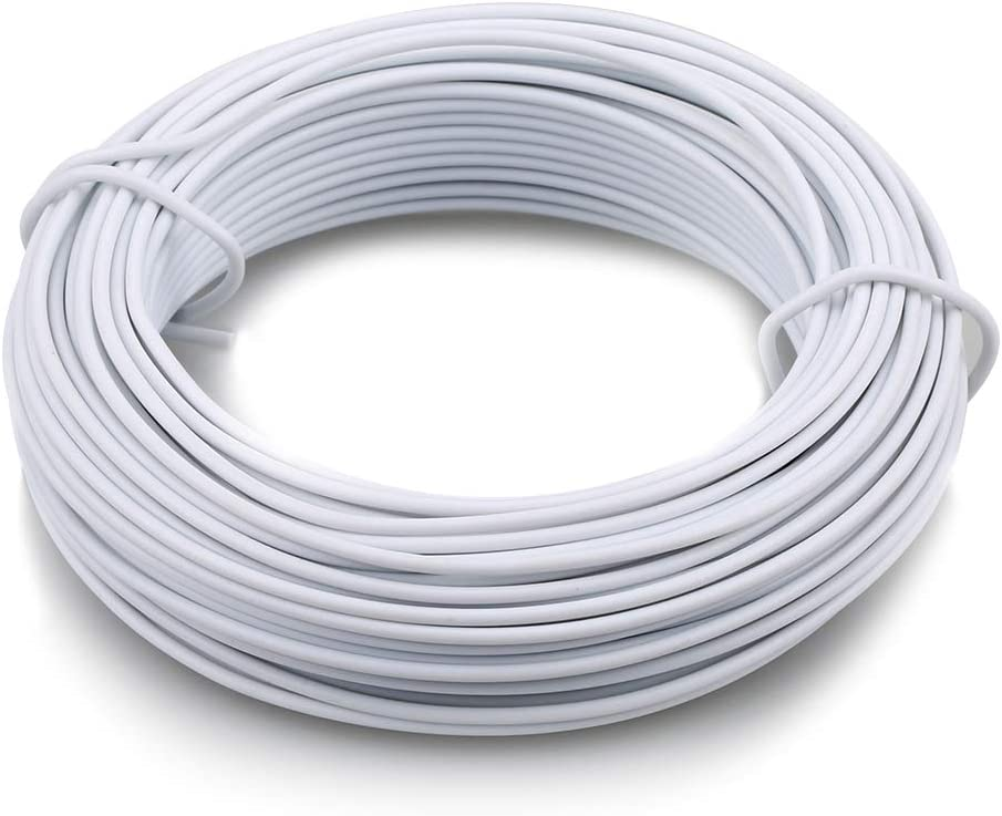 KINGLAKE 66 Feet White Sturdy Plastic Coated Garden Wire 2mm Plant Twist Tie