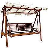 Dondolo 3posti legno di acacia tettuccio bianco arredo esterno giardino AC805055