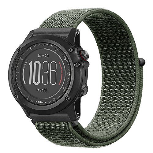 Fintie Band for Garmin Fenix 5X Plus/Tactix Charlie Watch, Nylon Sport Loop Replacement Strap Bands with Adjustable Hook‑and‑Loop Fastener for Garmin 3 HR/5X/Tactix Charlie Smartwatch, Cargo Khaki 160 Mm Soft Grip