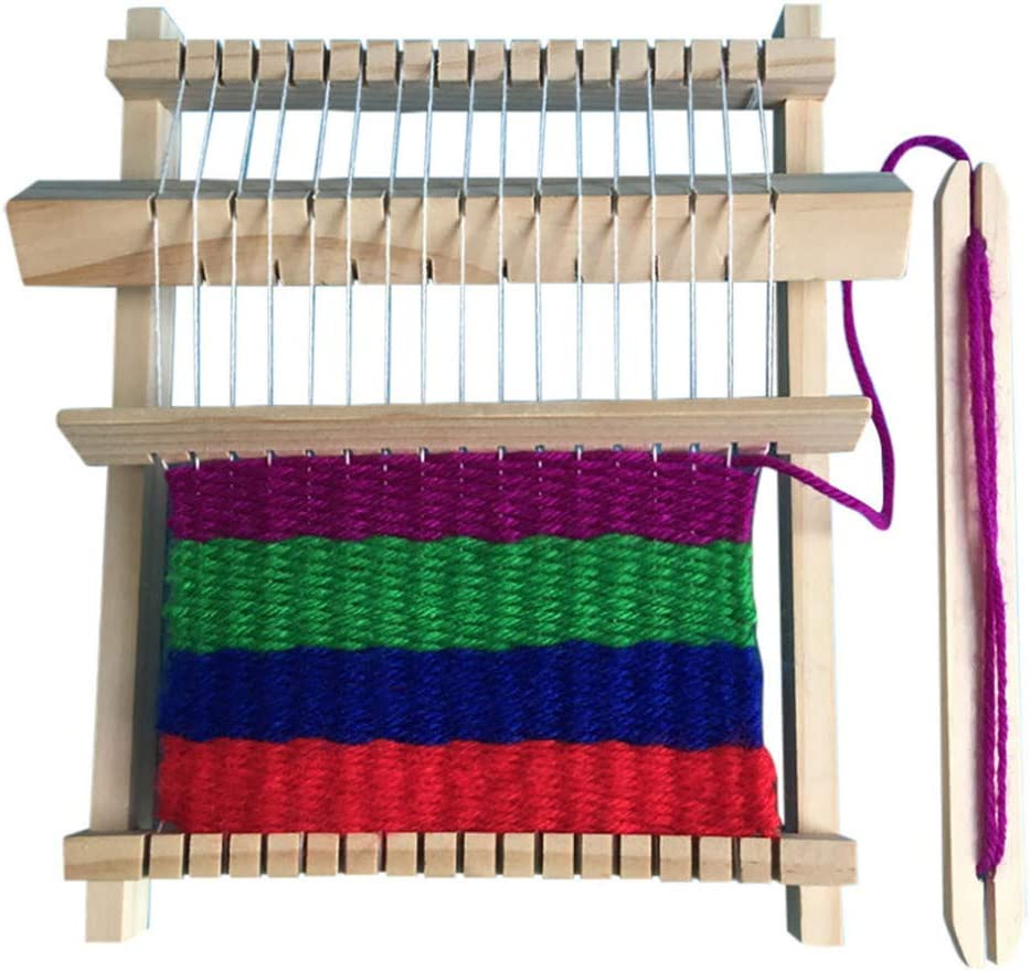 Wooden Weaving Loom Kit DIY Hand-Woven Multi-Craft Sewing Knitting Machine for Beginners and Kids