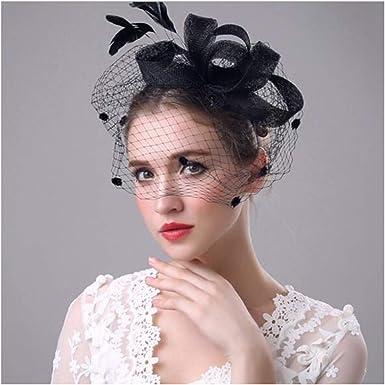 Lady Feather Headwear Fascinator Hair Clip Wedding Bridal Birdcage Hat