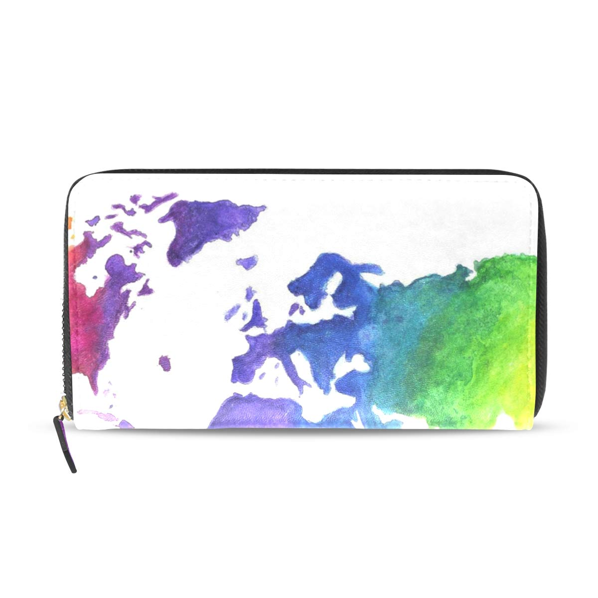Womens Wallets Watercolor World Map Print Earth Rainbow Colors Leather Passport Wallet Coin Purse Girls Handbags