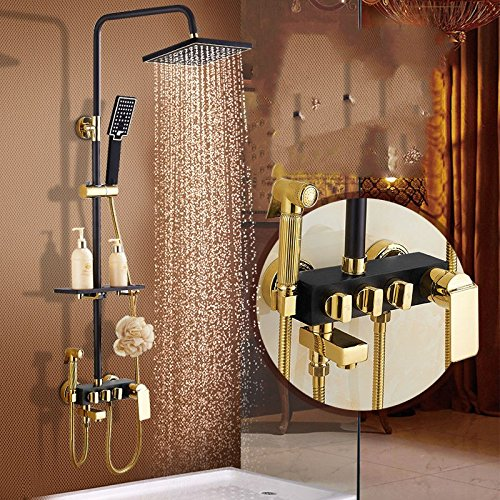 ETERNAL QUALITY Bathroom Sink Basin Tap Brass Mixer Tap Washroom Mixer Faucet The black retro-copper hot and cold water mixing valve shower woman wash shower faucet C Kit