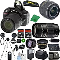 Nikon D5300 24.2 MP CMOS Digital SLR, NIKKOR 18-55mm f/3.5-5.6 Auto Focus-S DX VR, Tamron 70-300mm DI LD Zoom, 2pcs 16GB ZeeTech Memory, Case, Wide Angle, Telephoto, Flash
