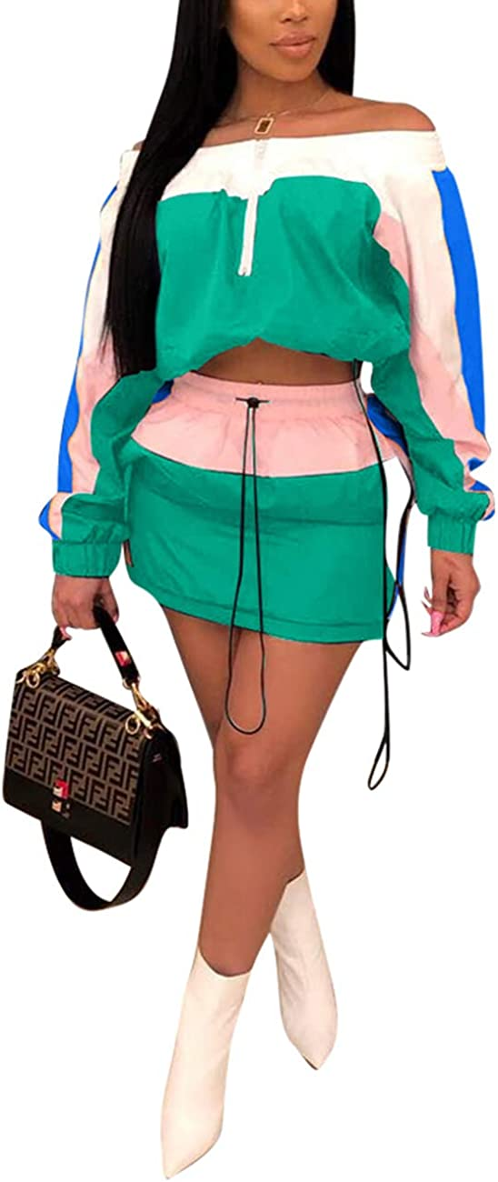 Alunzoem Womens Color Block 2 Piece Skirt Set Off Shoulder Crop Tops and Mini Skirt Outfit