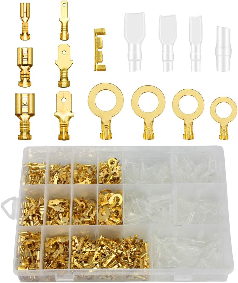 U Docking Terminals Ring Lugs Crimp Zemoner 1000 Pcs Male Female Wire Crimp Connector Kit 2.8mm 4.8mm 6.3mm Spade Cable Connector with Insulating Sleeve Assortment Set