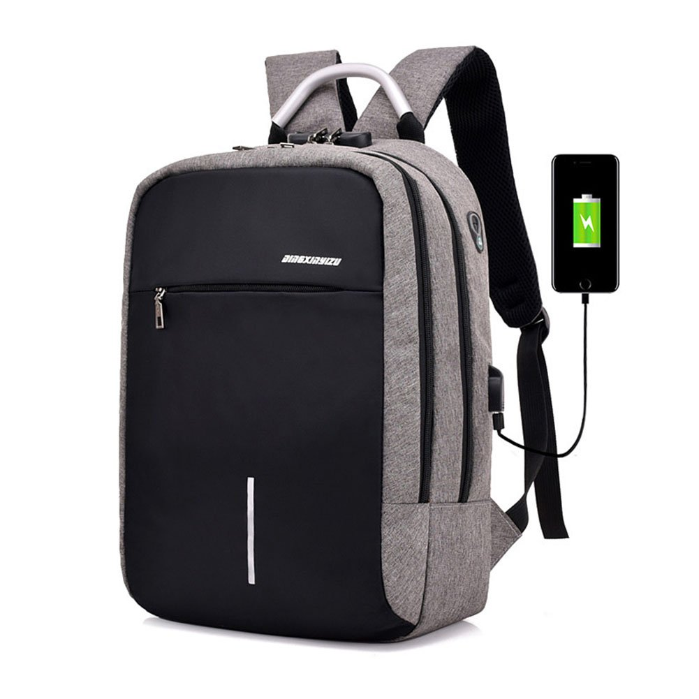 Etbotu Men Backpack with USB Charging,Anti-theft Breathable Student Knapsack for Outdoor Travel