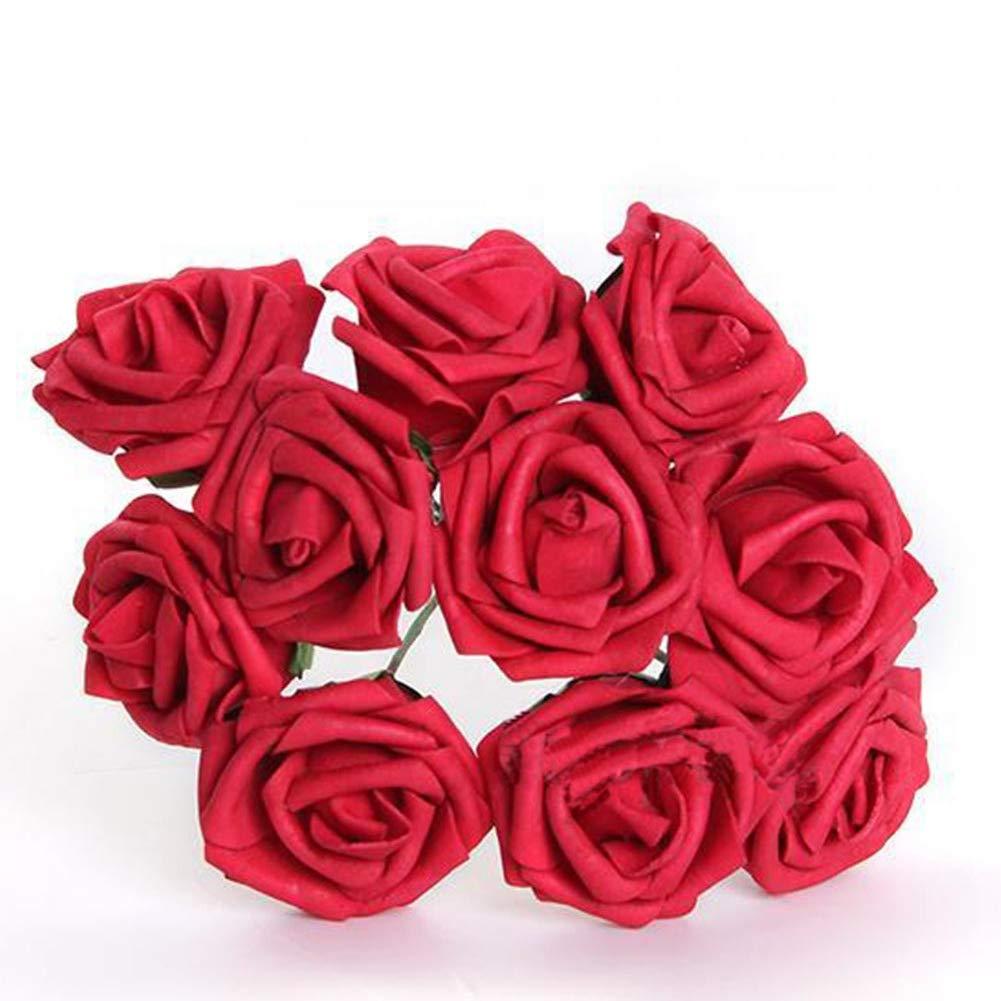 AAGOOD 10 Piezas de Hermosas Rosas Artificiales Festival del jard/ín de Flores del Ramo en la casa de Flores Rojas Decoraci/ón