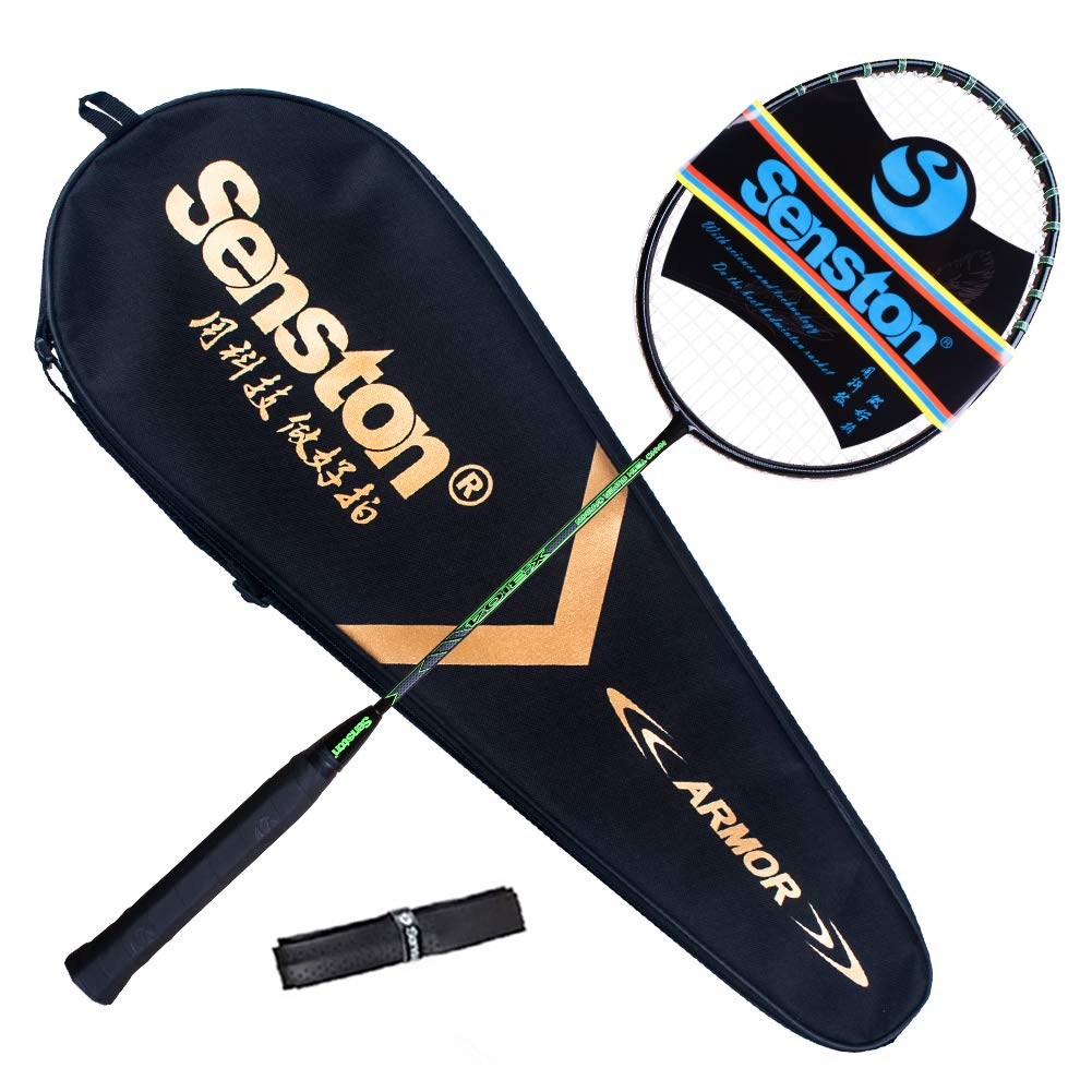 Senston X310 Graphite Badminton Racket New String Protected Technology Single High-Grade Badminton Racquet Green with Racket Cover and Overgrip