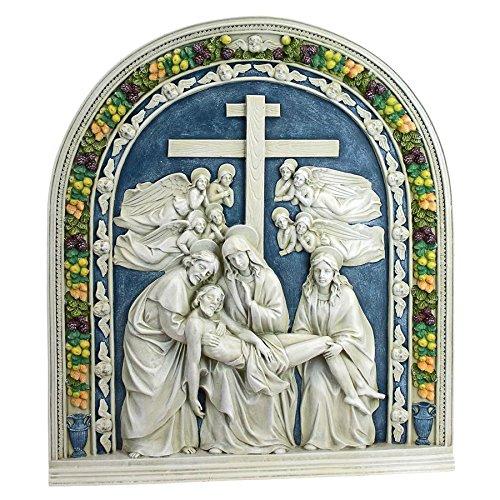 Design Toscano EU34566 Scultura da Parete Discesa dalla Croce di della Robbia, Resina,, 4x42x47 cm