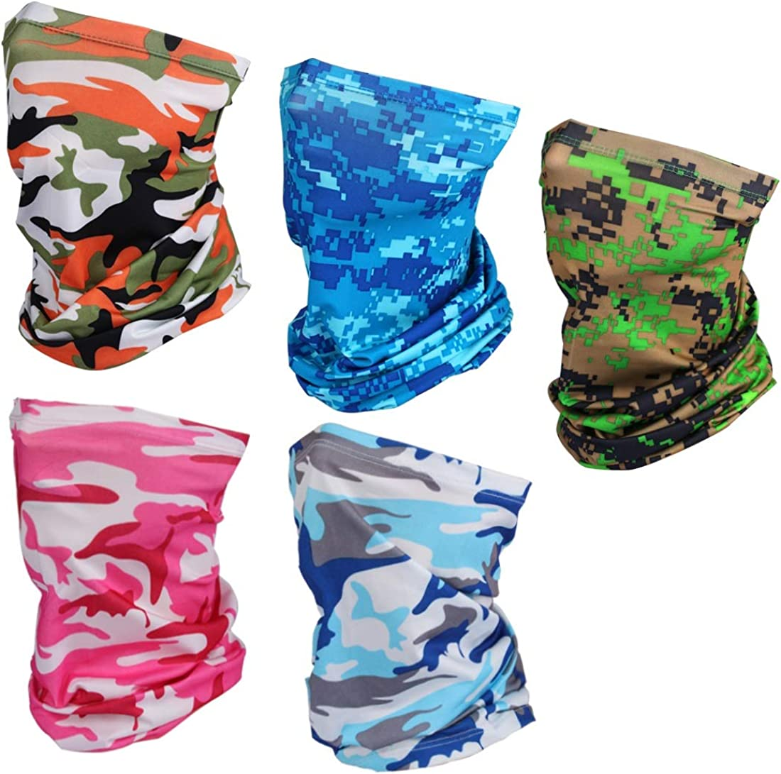 5 Pieces Cooling Neck Gaiter Mask Sun UV Protection Face Cover Breathable Headband Bandana