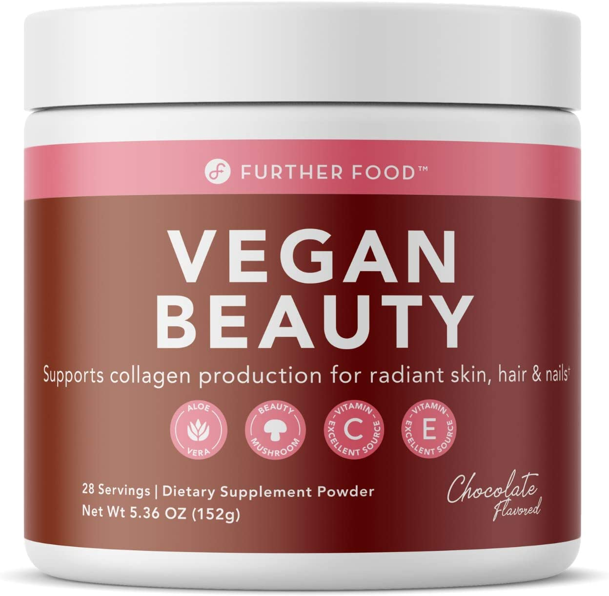 Vegan Beauty Collagen Booster Builder Vegetarian Plant-Based Supplement - Delicious Chocolate Flavor for Beautiful Skin, Hair and Nail Health Vitamin C and E + Aloe Vera (28 Servings)