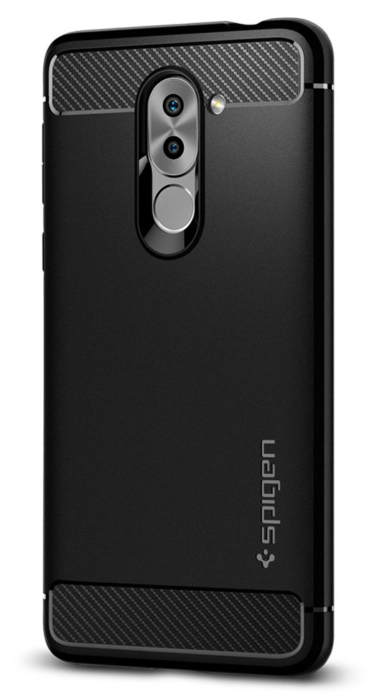Spigen Rugged Armor Huawei Honor 6X Case with Resilient Shock Absorption and Carbon Fiber Design for Honor 6X (2017) - Black