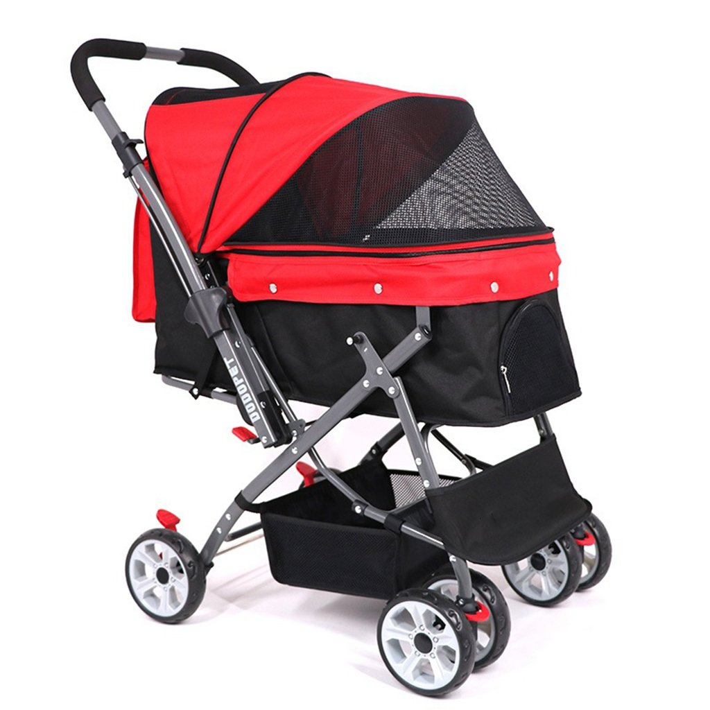 Red Four Wheel Pet Stroller Flexible Easy Walk for Cats Dogs Foldable Carriage with Congreenible for Small Medium Large Pets Cacoffay