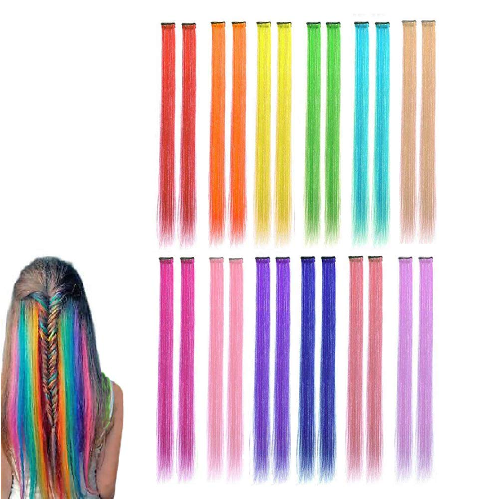 Colored Clip in Hair Extensions Party Highlight Hairpieces 21 Inch Rainbow Heat-Resistant Synthetic Hair Clips Cospaly Fashion Party Christmas Gift For Kids Girls, 12 Colors in 24 Pieces by Cozymate