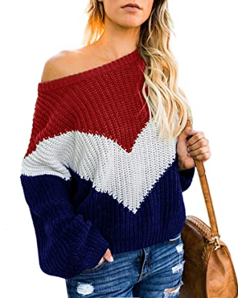473fcbd1b35192 Womens Plus Size Off the Shoulder Sweaters Oversized Color Block Casual  Pullover Jumper Tops at Amazon Women s Clothing store