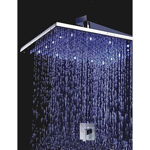 30%OFF SAEKJJ-Shower Faucet 12 inch Brass Shower Head with Color Chaning LED Lights Bathroom faucet
