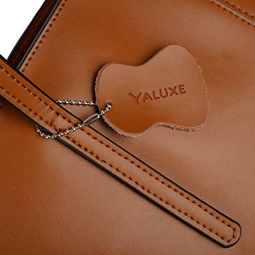 Cabas Femme Cuir à Veau Yaluxe Bandoulière Brun Vogue en Epaule Portes Simple Sac Main Enduit U1wCCgq
