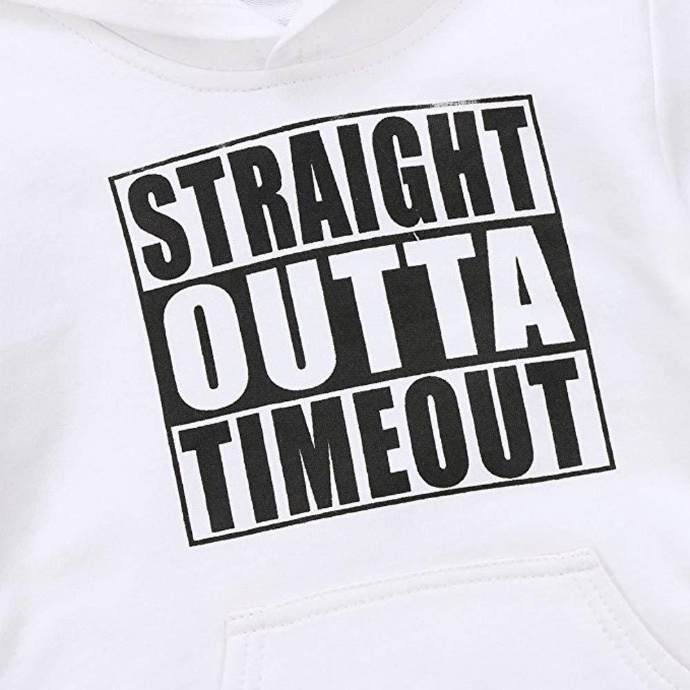 COOKI Baby Boys Girls Letter Print Casual Hooded Sweatshirt Infant Toddler Cotton Hoodies Tops Shirts with Kangaroo Pocket