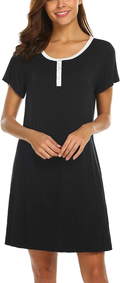 MAXMODA Camicie da Notte Donna Comodo Semplice Pigiami Camici Vestaglia Accappatoi Camicia da Notte Manica Corta Scollo a V S-XXL