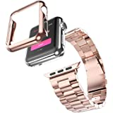 Ouneed ® Apple Watch 38mm Stainless Steel Strap Watch Band+Adapter+Case Cover for Apple Watch iWatch 38mm