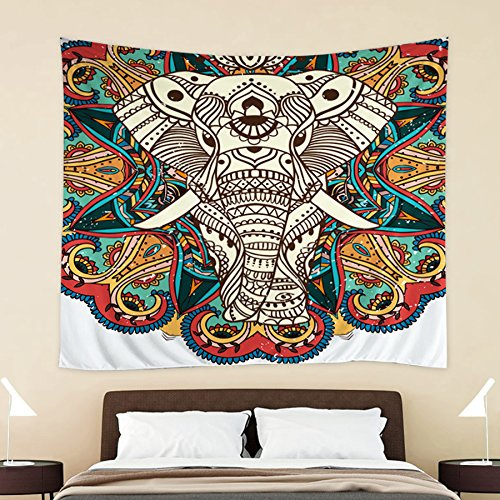 HOKWAY Elephant Tapestry Wall Hanging Art Decor Polyester Fabric Decorative Bedspread Picnic blanket Beach throw (54'' x 70'', Pattern G)